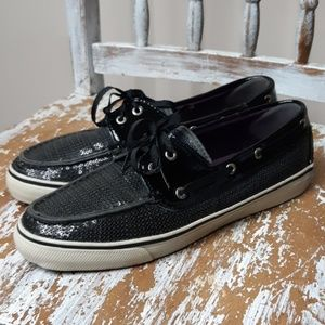 SPERRY black sequined with ribbon laces size 8.5